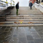 Despite the surging water and lashing waves and all, here is undeniable proof that the tide is falling: Detritus left behind on the steps of the bridges.  I don't usually find trash appealing, but this was a beautiful thing to see.