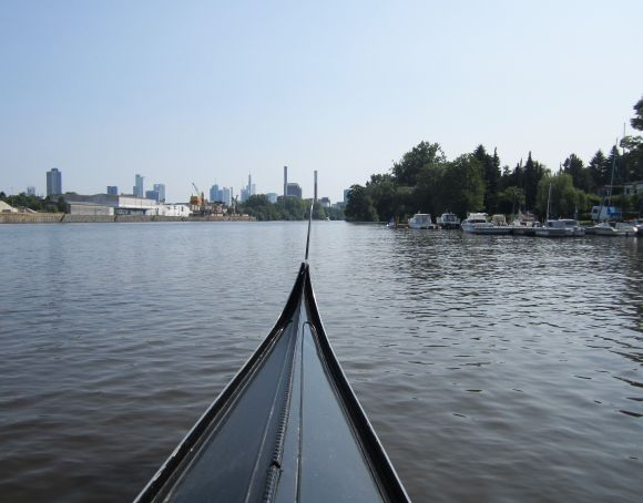 Rowing  from the boat-launching area up the Main River toward Frankfurt.  It's not a bad combination, one of the oldest forms of boat in the world and a city which lives and breathes the future.