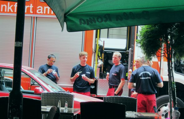 So farewell, Frankfurt. My happiest memory may well be the firemen on their mid-day ice-cream break.