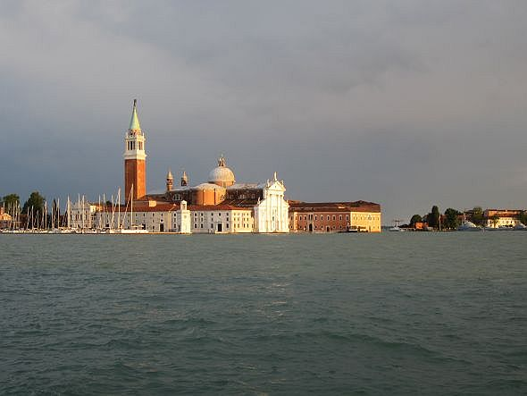 I appreciate that Venice (well, San Giorgio, in this case) is seductive and irresistible and beautiful and everything. But it wouldn't have been less beautiful the next day. It's been here for 1,500 years -- presumably it can wait for a family to have dinner and sleep.
