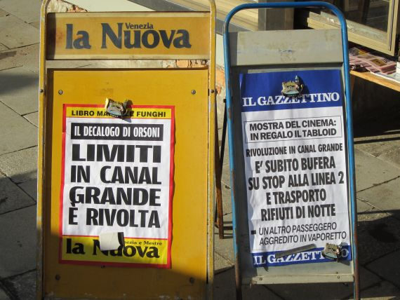 People hardly had time to finish reading the list of 26 proposed changes to the traffic on the Grand Canal before the protests began.  The Nuova Venezia says: