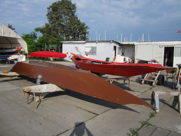 A glimpse backstage: The three boats at our club on Sunday morning.