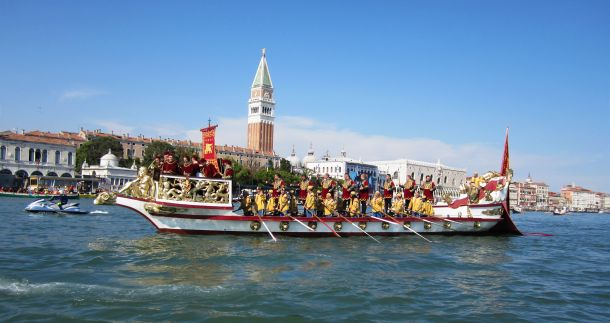"This is the ""Serenissima,"" the crowning glory of the boat procession preceding the races -- the icon of the Regata Storica, center stage."