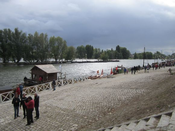 This is the waterfront before the arrival of all the boats.  The water nearest the embankment is a sort of deviation of the Loire, which is flowing behind the line of trees and joins this offshoot where the trees end.