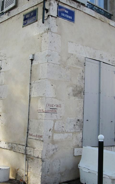 "And speaking of floods, these marks on the walls show the height of several catastrophic inundations -- strangely, we all noted, in years ending in ""6.""  This street, may I note, is very high and far from the river."