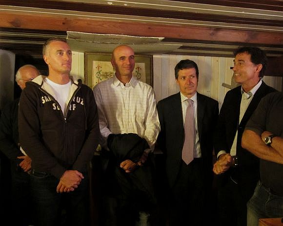 Andrea Bertoldini (is he always on the left?) and Martino Vianello being feted at the Settemari porkfest, listening to the proclamations made by the Assessore for Sport, Roberto Panciera, (second from right) and club president, Massimo Rigo (far right).