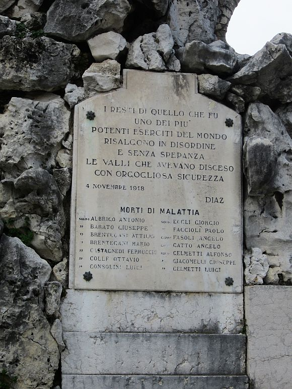 The war memorial in Lazise, on the shores of Lake Garda, repeat the last ringing phrase from General Armando Diaz's famous report on the Austrian surrender: ""