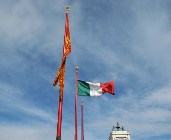 I hope the flag was flying bravely today; I didn't get to the Piazza to see.  This was another brave day.