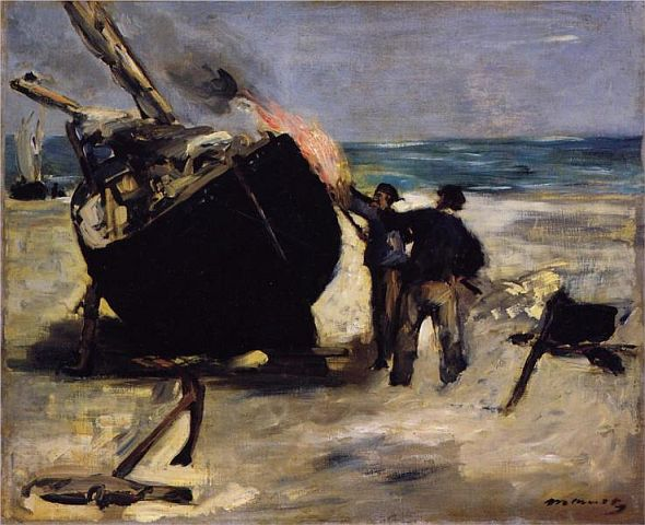 """Tarring the Boat,"" by Edouard Manet (1873).  (The Barnes Foundation).  If you've gotten yourself impegola'd in some situation, this is what you feel like -- one hopes without the fire."