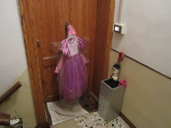 Climbing the stairs to visit a friend two days ago, I discovered this mysterious harbinger of Carnival: The princess costume.  Just add princess and throw confetti.