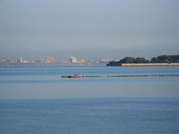 The Industrial Zone of Marghera, which doesn't look especially good even from across the lagoon at a distance of