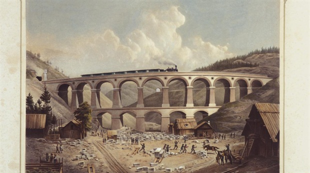 Another view of the Kalte Rinne viaduct (Emerich Benkert, color lithograph, 1854).