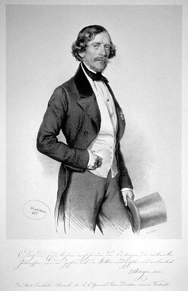 Carlo de Ghegha, 1851, while still working on the railroad.  He looks satisfied with the way things are going in this lithograph by Joseph Kriehuber.