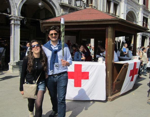 The Piazza is usually besieged with illegal rose-sellers, but on April 25 the only visible vendors were from the Red Cross.