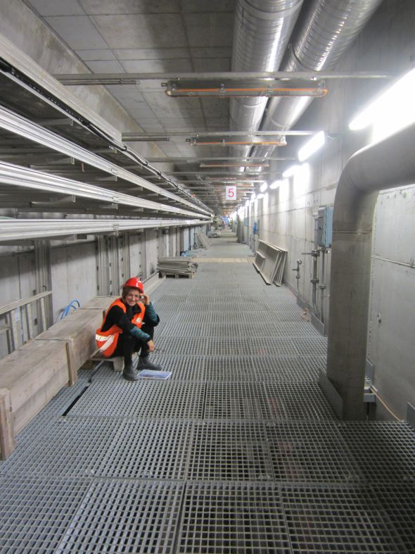 The tunnel in the cement caissons to which the yellow floating barriers are hinged.  This tunnel is 400 meters (1,300 feet) long, and 13 meters (43 feet) below the water's surface.
