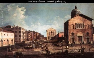 A view of the church of San Giuseppe di Castello, by Antonio Canaletto.  The church in the foreground was torn down, houses built in its place, the canal in the foreground filled in to create viale Garibaldi, and limetrees planted along its borders.  In other words, this view is painted from the perspective of a person standing on what was to become the viale Garibaldi.  (www.canalettogallery.org)
