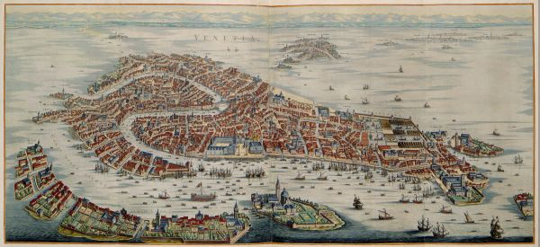 A map of Venice by Joan Blaeu (1596 - 1673), official cartographer of the Dutch East India Company. I realize that Jacopo de' Barbari's bird's-eye view of Venice (1500) is more famous, but this version is just as full of insane detail. In fact, I think the watercolors are a great help.