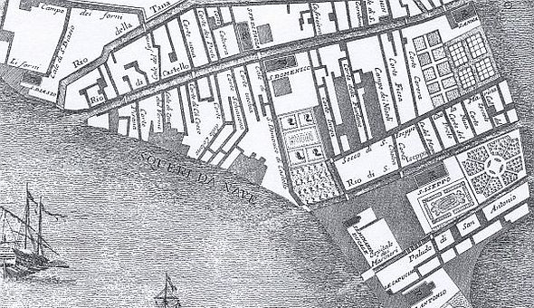 "Detail of the area in question from Ludovico Ughi's map of 1729.  The ""Cale di S. Domenico di Castello"" is located exactly where viale Garibaldi is today."