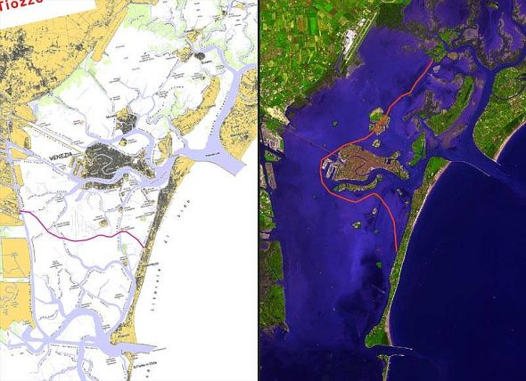 "A drawing from the 1980's shows the network of canals, or ""ghebi,"" in the lagoon.  In 2002, a NASA satelite shows the same area, pretty much leveled and smoothed out by the terrific suction of the Petroleum Canal over the years."
