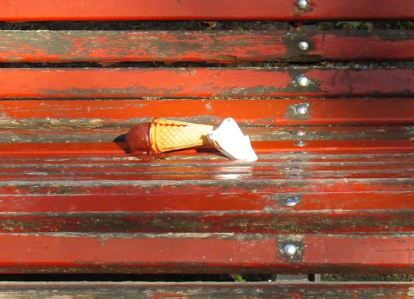 Something had given way. Was it the cone? The napkin? A physicist or a mystic could probably tell me, but as I know neither, I can only gaze upon this with wonder and regret. Wonder, especially, as to who would throw away a perfectly good ice cream cone, and chocolate, at that. These are deep waters, Watson.