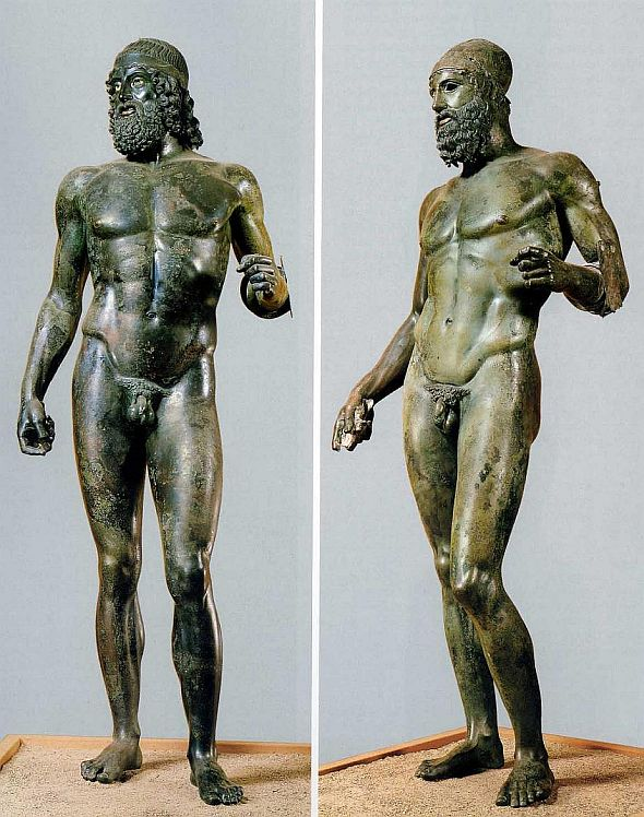 The world-famous Riace bronzes would have a hard time getting a doctor's note excusing them from war, or the Olympic Games, or anything else they had to do on Monday.  Riace, as you know, is in Calabria.