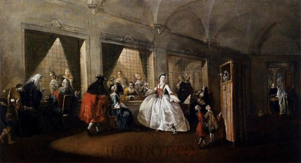 """Parlatorio delle monache di S. Zaccaria"" (parlor of the nuns of S. Zaccaria), Francesco Guardi, 1746.  (Ca' Rezzonico, Venezia).  The central figure is not a nun, as far as I can make out.  There is a puppet show in progress, which is nice."