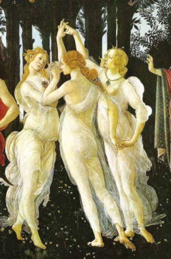 "When the nuns looked in their mirrors -- I'm sure they had them -- I'm equally sure this is what they saw.  (Detail of the Three Graces from ""La Primavera"" by Sandro Botticelli, 1482.)  Even if they'd never seen the painting."