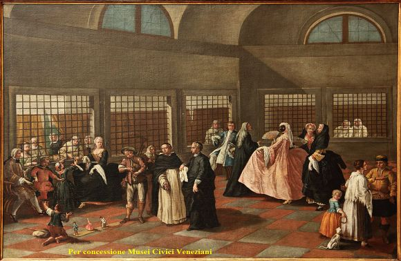 """Il Parlatorio"" (the parlor), by Pietro Longhi, DATE TK.  Not exactly the atmosphere one associates with cloisters."