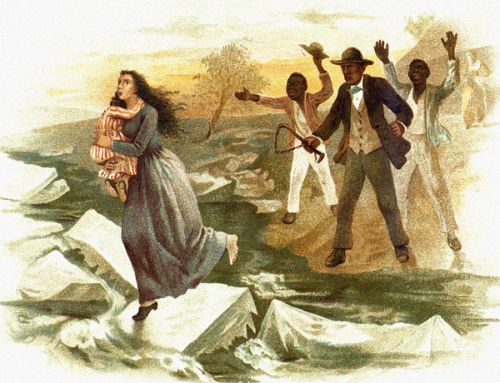 "Eliza fleeing across the frozen river, from ""Uncle Tom's Cabin"" (photo: usslave.blogspot.it)"
