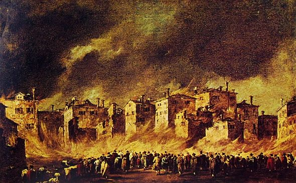"""Fire in the Oil Warehouse,"" by Francesco Guardi, 1789. Not made up, the fire or the painting."