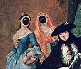 """The Parlour,"" by Pietro Longhi (1757) was graced by two ladies wearing the ""Moreta."" It must have kept the noise down, or at the least they must have walked around sounding like they'd been trapped in a small closet."