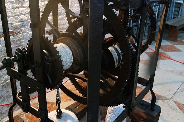 From a few steps away, the clock mechanism doesn't look so very complicated. Up close, you begin to appreciate the precision involved in making every single component.
