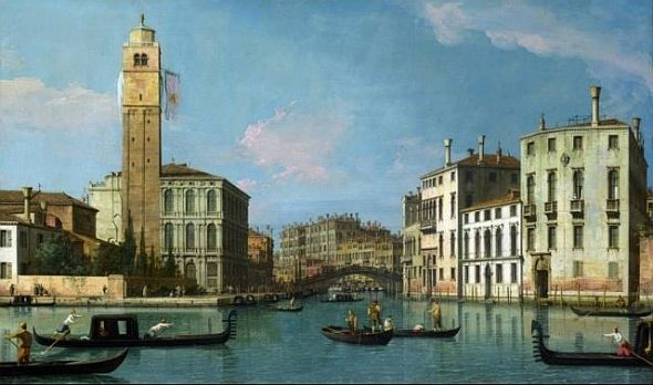 The church of San Geremia, with its splendid tower and even more splendid invisible clock, seen looking up the Cannaregio Canal. (Canaletto, Wikiart.)