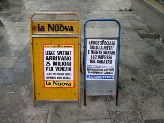 As mentioned, the big news in both Venice newspapers was: