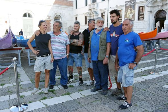 "The boatmasters (L to R); Silvia Scaramuzza, Dino Tagliapietra, assistant carpenter, Roberto dei Rossi, Gianfranco Vianello, nicknamed ""Crea,"" two more associate builders."