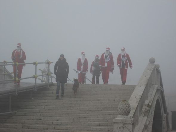 Only fog could make Father Christmas look so ominous.